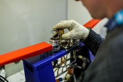 Laboratory assistant checks the quality of petroleum products in the laboratory stock photography