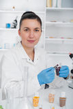 Laboratory assistant in the laboratory of of food quality.Cell culture assay to test genetically modified seed. Toning image royalty free stock photos