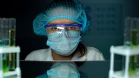 Laboratory assistant looking to camera, scientist conducting experiment research royalty free stock photos