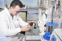 Laboratory assistant pours liquid from a bottle Royalty Free Stock Images