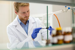 Laboratory assistant prepare instrument for experiment Royalty Free Stock Photos