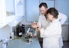 Laboratory assistant study petri Royalty Free Stock Photos