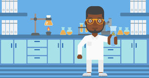 Laboratory assistant with test tube. Royalty Free Stock Images