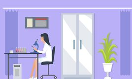 Laboratory Assistants Research Vector Illustration. Laboratory assistant with microscope doing researches in laboratory with medical bulbs, plant and big door on Royalty Free Stock Photos