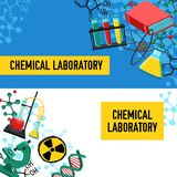 Laboratory Banners Set Stock Photo