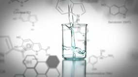 Laboratory beaker with data and structural formula of chemical compounds in the foreground