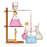 Laboratory beaker and flasks with chemical. Royalty Free Stock Photos