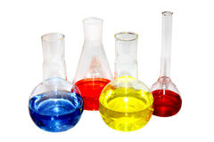 Laboratory beakers with the coloured liquid Stock Photography