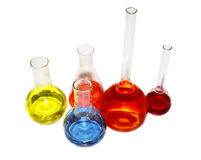 Laboratory beakers with the coloured liquid Royalty Free Stock Photos