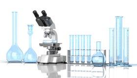 Laboratory blue glassware Stock Images