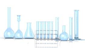 Laboratory blue glassware on white backg Stock Photography