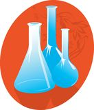 Laboratory bottles Stock Images