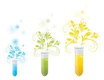 Laboratory bottles with floral elements. Illustration Royalty Free Stock Photos
