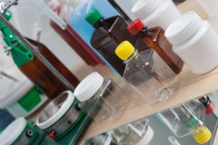 Laboratory bottles Stock Photo