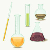 Laboratory bottles - vector Stock Image
