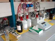 Laboratory for chemical analysis stock images