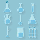 Laboratory chemical bottles glassware. Vector Royalty Free Stock Photography