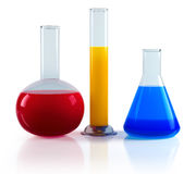 Laboratory chemical flasks Stock Images
