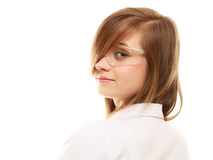 Laboratory. Chemist woman in goggles glasses isolated Royalty Free Stock Photos