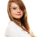 Laboratory. Chemist woman in goggles glasses isolated Royalty Free Stock Image