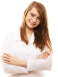 Laboratory. Chemist woman in goggles glasses isolated Stock Photos