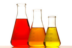 Laboratory Conical Flasks in Science Research Lab Royalty Free Stock Photo
