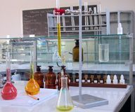 Laboratory desk Stock Images