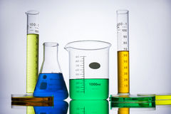 Laboratory equipment beakers test tubes Royalty Free Stock Images