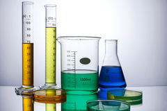 Laboratory equipment beakers test tubes Royalty Free Stock Photo