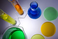Laboratory equipment beakers test tubes Stock Photos