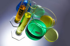 Laboratory equipment beakers test tubes Stock Images