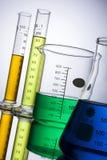 Laboratory equipment beakers test tubes Royalty Free Stock Photos