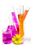 Laboratory equipment and chemical solutions. Stock Photos