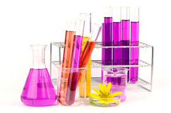 Laboratory equipment and chemical solutions. Royalty Free Stock Photography