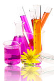 Laboratory equipment and chemical solutions. Stock Photography