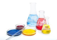 Laboratory equipment and color chemicals Stock Image