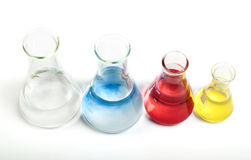 Laboratory equipment and color chemicals Stock Images