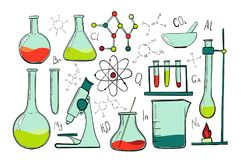 Laboratory equipment color set. Science chemistry. Microscope, Glass flasks and test tubes. Chemical experiments vector illustration