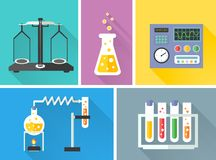Laboratory equipment decorative icons set Royalty Free Stock Photos