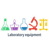 Laboratory equipment. Design elements for web, mobile app, print. Vector illustration Royalty Free Stock Image