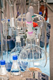 Laboratory equipment. With different chemical glass tubes stock images