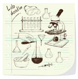 Laboratory Equipment Doodle Royalty Free Stock Photography