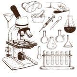 Laboratory Equipment Doodle Stock Photo
