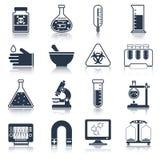 Laboratory equipment icons black stock illustration