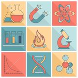 Laboratory equipment icons flat line Stock Photos
