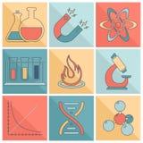 Laboratory equipment icons flat line royalty free illustration