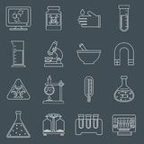 Laboratory equipment icons outline Stock Image