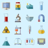 Laboratory equipment icons Royalty Free Stock Photos