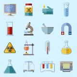 Laboratory equipment icons stock illustration