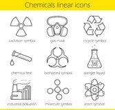 Laboratory equipment linear icons set Stock Images